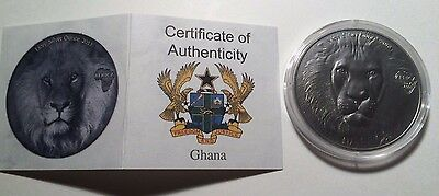 2013 Lion Africa Map Series Ghana 1 oz Silver Antique Finish with COA