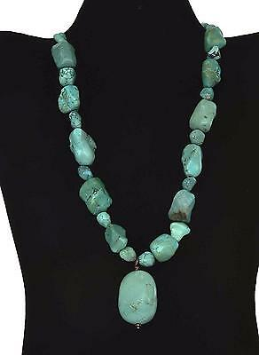 Vintage Chinese Style Turquoise Carved Carving Pendant Pebble Bead Necklace