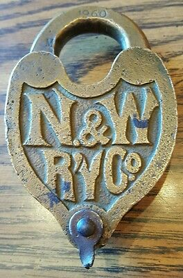1960 Ornate Norfolk and Western Railroad Heart Style N&W RY Co Brass Lock