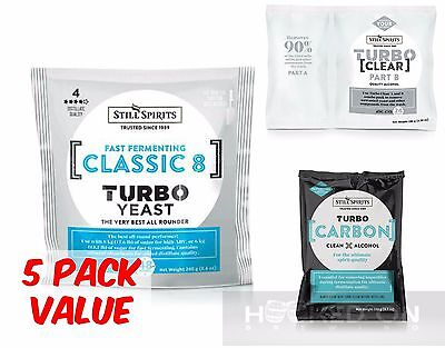 CLASSIC 8 Turbo Yeast Pack - 5 Pack - Still Spirits Home Brew Essence