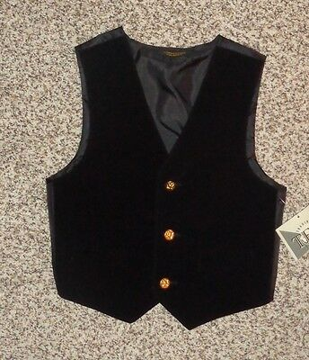 TFW Boys Black Velvet Vest Gold Buttons Size 5 New