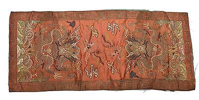 Early 20C Chinese Brocade Silk Embroidery Embroidered Dragon Panel NOT BADGE