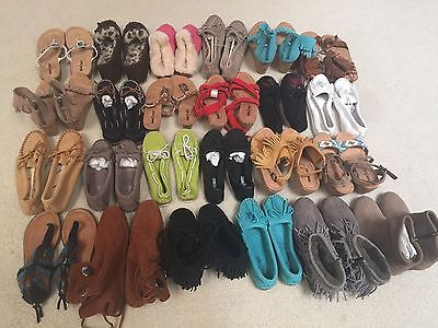NEW Lot 25 Pairs MINNETONKA  Moccasins Sandals, Wedges, Shoes, Slippers Size 5-6