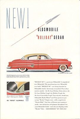 Oldsmobile Holiday Sedan Rocket 98 Vintage Ad 1951