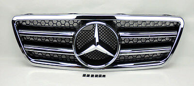 Mercedes E Class W210 00-02 Front Black & Chrome AMG Style Hood Sport Grill