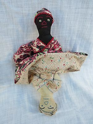 "12"" Antique Cloth Topsy Turvy Black & White Folk Art Doll Embroidered features"