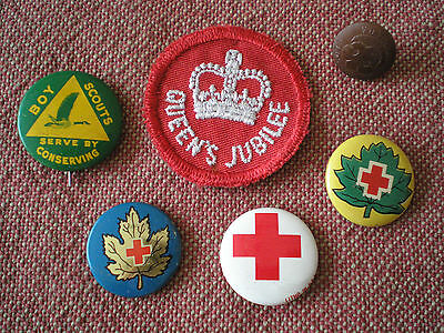 1950s to 1970s CANADIAN BOY SCOUTS, QUEENS JUBILEE & RED CROSS BADGES