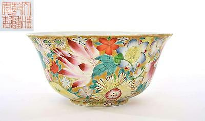 Late 19C Chinese Famille Rose Gold Ground MilleFleur Porcelain Bowl Marked