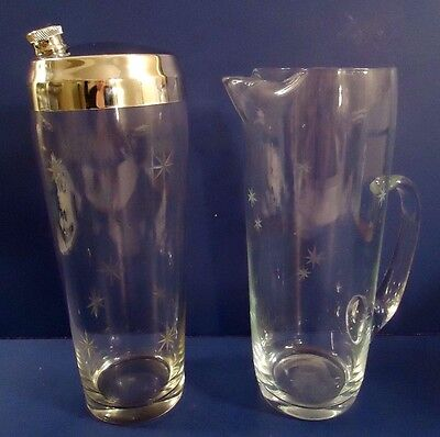 Vintage 1950's  Glass Cocktail Shaker w/ Matching Pitcher ~ Etched Stars ~ Retro