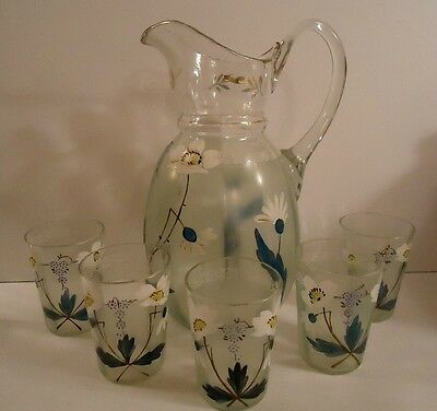 Antique Victorian  Glass ~ 6pc Lemonade / Water Set ~ Hand Blown - Painted Daisy