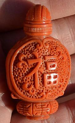 Vintage Chinese Natural Coral Carved Carving Snuff Bottle Chirography Wood Stand