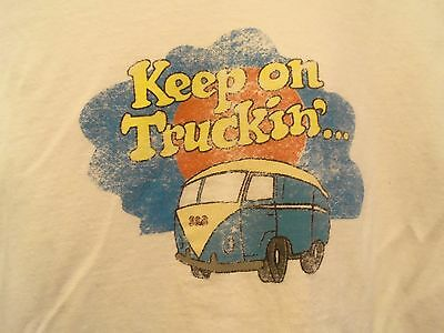 VW Bus Keep on Truckin mens graphic jersey white L