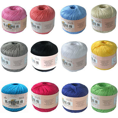 12 Colors 100% Cotton Lace Yarn Summer Lace Yarn For Woven Crocheting Knitting