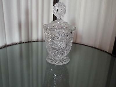 HOFBAUER Crystal OF Western Germany /Byrdes Collection  COVERED COMPOTE