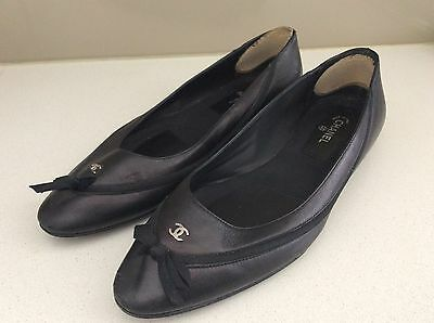 Chanel Shoes , Black Leather Flat Ballet Style Size 40.5