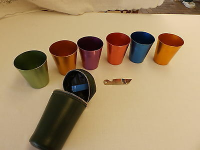 Vintage / Retro Harlequin Coloured Anodised Cup Set With Carry Case / Travel Set