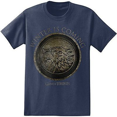 Game Of Thrones STARK SEAL WINTER IS COMING CIRCLE T-Shirt Navy NWT Licensed
