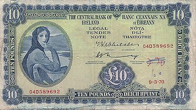 1970 Lady Lavery £10 PUNT Banknote Central Bank of Ireland