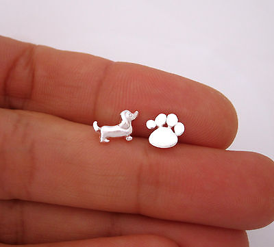 925 Sterling silver small DOG and PAW PRINT stud earrings
