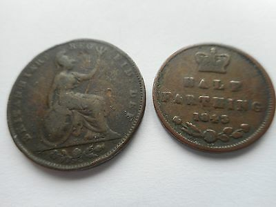 1843 Queen Victoria  Farthing and 1843 Half Farthing.