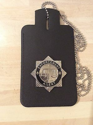 Neck Chain ID Card Holder With Enforcement Agent Badge