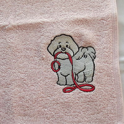 Bichon Frise Dog Embroidered Face Cloth Flannel, Dog Gift, Embroidery