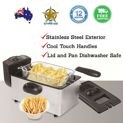 Electric Deep Fryer Stainless Steel Frying Basket Bench Top Chip Cooker
