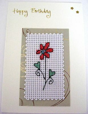 Birthday Card Completed Cross Stitch Daisy 6x4""