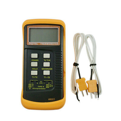 New Dual Channel Digital Thermometer with K-Type Thermocouple Sensor Probes