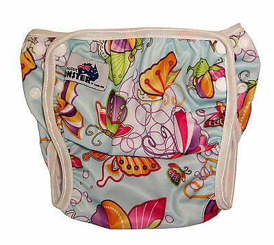 Reuseable swim nappy washable swimmer adjustable baby to toddler Butterflies