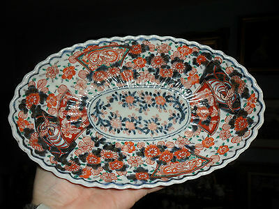 Antique finely hand painted Japanese Imari Scalloped edged dish slight a/f