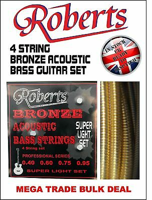 Roberts Acoustic Bass Guitar Strings - 5 Sets Bronze - New -5 Packs !