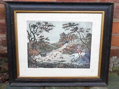 Old English Sporting Fox Hunting Horse & Hound Art Print Picture Equine Framed