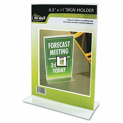 """NuDell Clear Plastic Sign Holder, Stand-Up, 8 1/2"""" x 11"""""""