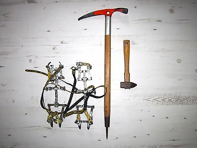70s Camp Bernina Wooden Ice Axe Made in Italy & Laprade Crampons Antique Vintage