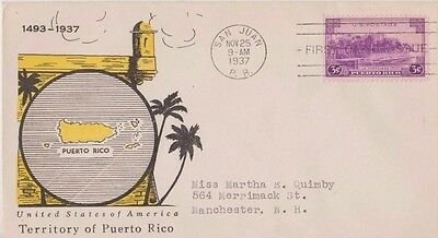First day of issue, 1937, Territory of Puerto Rico, # 801