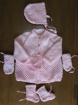 Baby Pink matinee set new 1-3 month coat bonnet boots mitts james brett