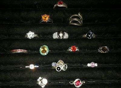 Lot Of 15 Sterling Silver Ladies Rings All New Very Beautiful