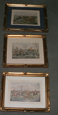 3 H Alken Antique Sporting Prints Fox Hounds Hunting Framed