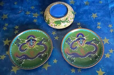 Vintage Ashtray Cloisonne Chinese  Floral Hand Enameled  2 chinese dragon dish's