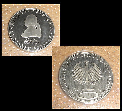 5 DM BRD Gedenkmünze pp polierte Platte D-MARK coin german LESSING