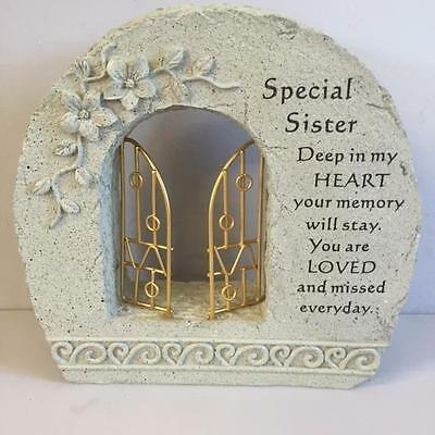 New GATES TO HEAVEN SPECIAL SISTER Grave Memorial Remembrance Plaque Ornament