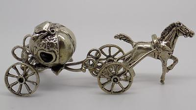 60g! Vintage Solid Silver Cinderella Carriage Miniature - Stamped - Italian Made