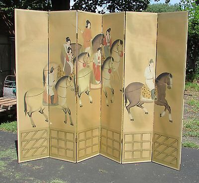 Large Chinese Antique Style Equestrian Painting Folding Screen 20th Century