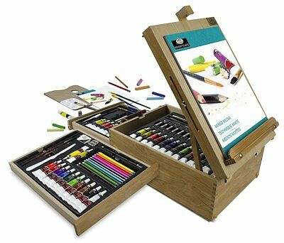 Easel Artist Set 104-Piece All Media Wooden Travel Case Portable Storage Palette