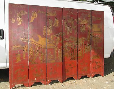 Antique Chinese Hand Painted 6 Panel Folding Screen Original Painting