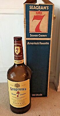 Vintage Seagram's 7 Crown Large 1 Gallon Bottle 1970's Original Box