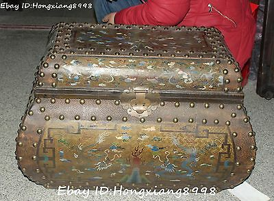 """18"""" Old Chinese Wood Lacquerware Two Dragon Play Ball Treasure jewelry Box Chest"""