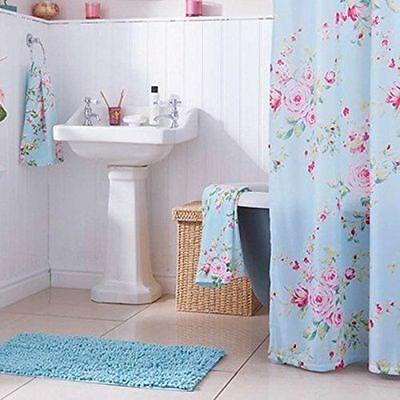 Catherine Lansfield Canterbury Shower Curtain SHABBY CHIC VINTAGE ROSE BLUE