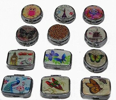 Pill Boxes Various Designs Rectangle or Round Compartments Owl Butterfly Birds